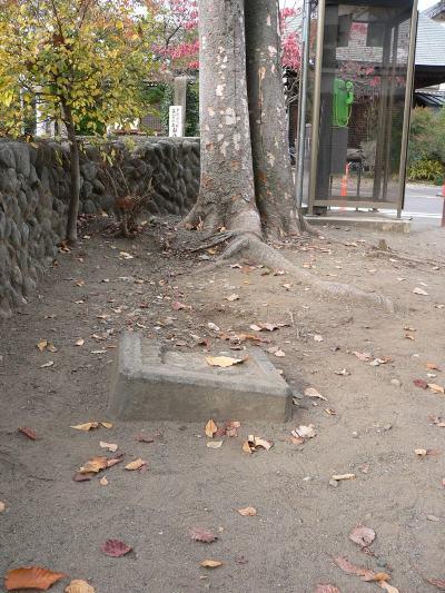 埋もれていた校門礎石